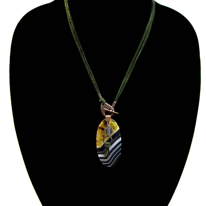 Necklace, Green Suede Cord Front Closure with Big Agate Pendant: Sweden - product images  of