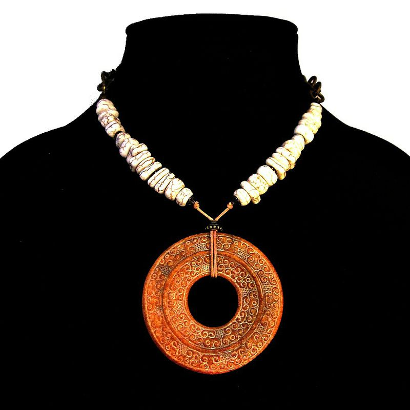 Giant Carved Jade Donut Pendant Necklace with White Howlite Bead: Emblem - product images  of