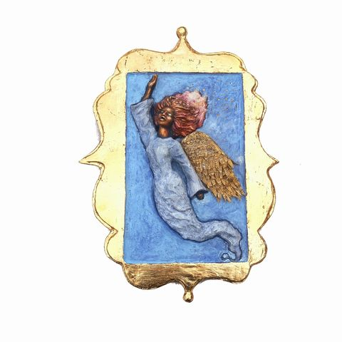 Angel,Wall,Sculpture,,Gold,Leaf,Framed,Paper,Mache,Relief,Art:,Hallelujah,angel sculpture, original angel art, one of a kind papier mache art, paper mache angel, religious art, salvaged paper angel art, recycled paper art,