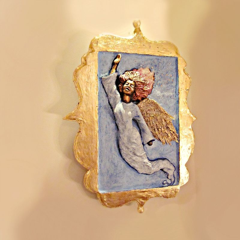 Angel Wall Sculpture, Gold Leaf Framed Paper Mache Relief Art: Hallelujah - product images  of
