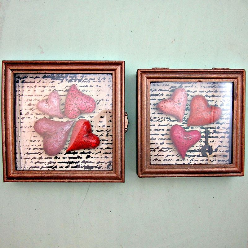 Shadowbox Heart Keepsake, Paper Mache Hearts with Key: Beloved - product images  of