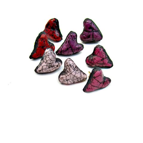 Post,Earrings,,Tiny,Crackled,Paper,Mache,Heart,Studs:,Venus,paper mache post earrings, paper mache heart earrings, crackled heart earrings
