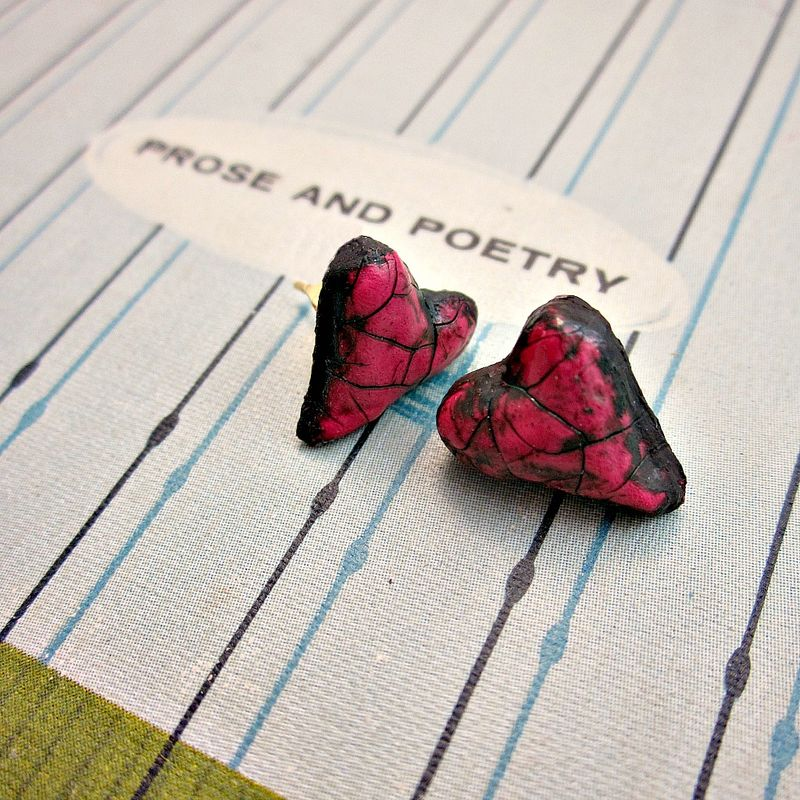 Post Earrings, Tiny Crackled Paper Mache Heart Studs: Venus - product images  of