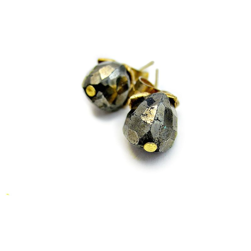 Gold Post Earrings with Faceted Pyrite Nuggets: Facile - product images  of
