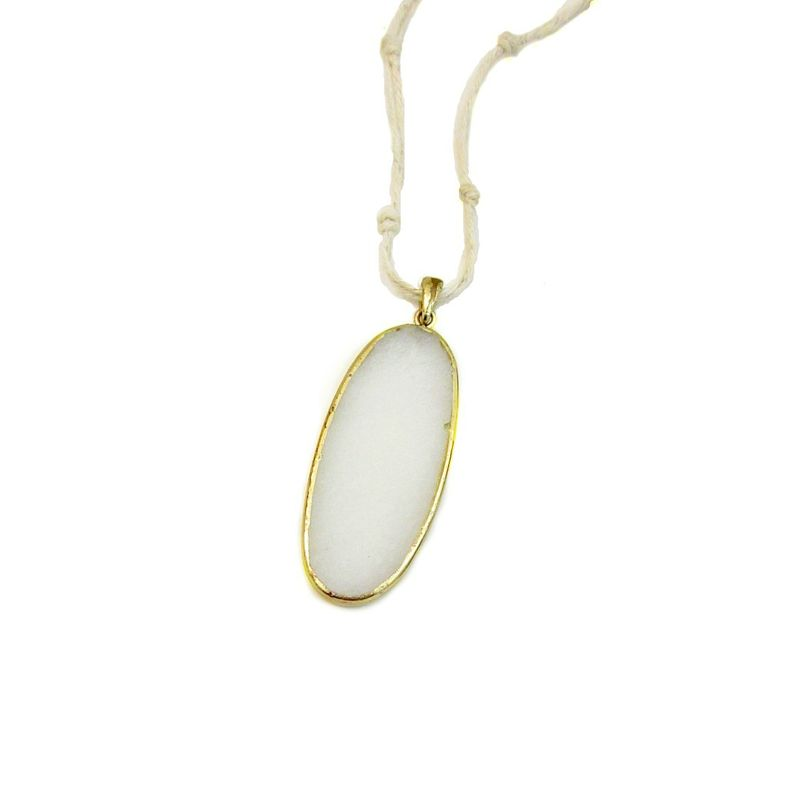 Cord Necklace, White Stone Pendant on Long Knotted Cord: Blaine - product images  of
