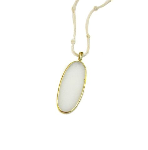 Cord,Necklace,,White,Stone,Pendant,on,Long,Knotted,Cord:,Blaine,cotton cord necklace, natural cord pendant necklace, long pendant necklace, summer jewelry, white and gold necklace
