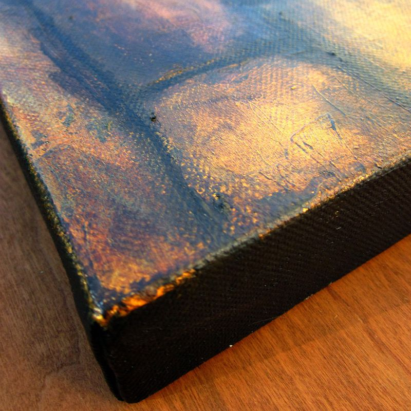 Original Abstract Gold and Umber Acrylic Painting on Canvas: Untitled - product images  of