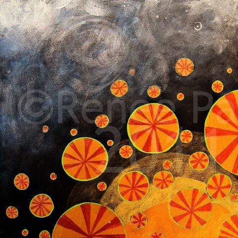 Original,Abstract,Acrylic,Circles,on,Canvas,Painting:,Porchlight,original painting, square painting, abstract painting, circles painting, dark painting, small painting, metallic painting, acrylic painting, one of a kind painting, painting on canvas, thick canvas painting, gold on dark painting, porchl