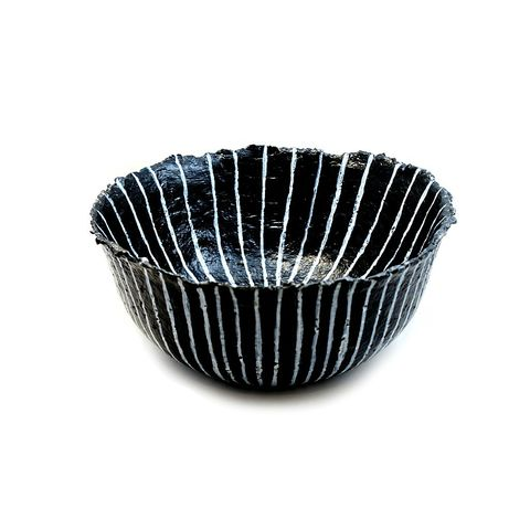 Bowl,,Black,and,White,Graphic,Stripe,with,Raw,Edge:,Asterisk,big papier mache bowl, black and white bowl, paper mache bowl, paper mache art, recycled home accent, recycled decor, paper bowl, striped bowl