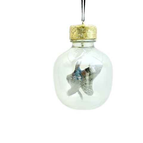 Fish,Ornament,,Paper,Mache,Goldfish,Sculpture,in,a,Bottle,ball ornament, fish ornament, fish sculpture, goldfish decor, goldfish ornament, black moor ornament