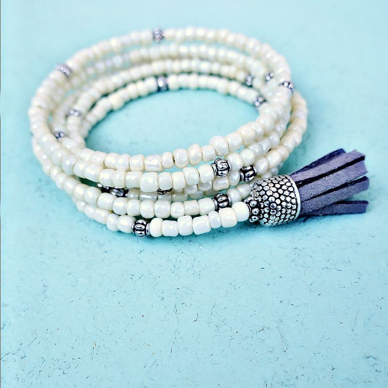 Bracelet, Cream Glass Beaded Wrap Bangle with Tassel: Sheridan - product images  of