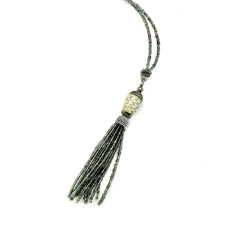 Necklace,,Beaded,Glass,with,Paper,Bead,and,Tassel,Pendant:,Phoebe,beaded tassel pendant necklace, paper jewelry, paper bead necklace, recycled jewelry, handmade tassel necklace, knotted necklace