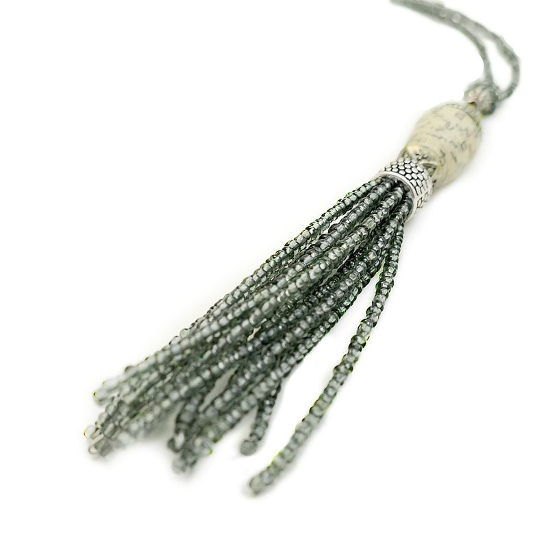 Necklace, Beaded Glass with Paper Bead and Tassel Pendant: Phoebe - product images  of