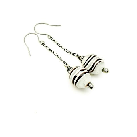 Earrings,,Striped,Glass,Dangles:,Hermosa,glass bead dangle earrings, striped glass dangle earrings, long glass earrings, elegant glass earrings
