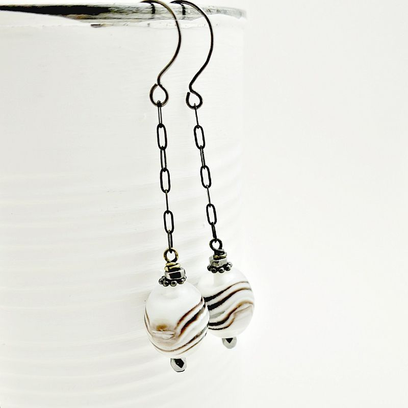 Earrings, Striped Glass Dangles: Hermosa - product images  of
