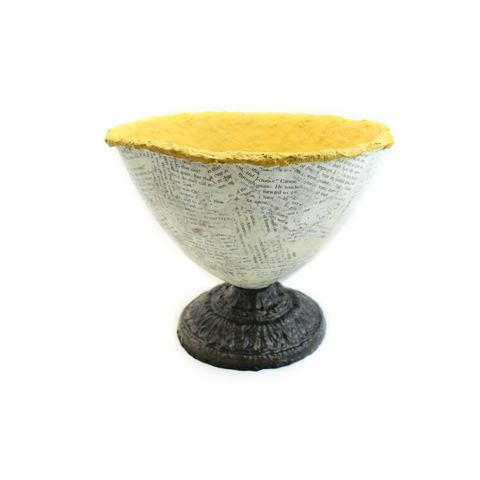 Pedestal,Bowl,,Rustic,Yellow,and,Bronze,Vessel,with,Distressed,Words:,Blake,yellow paper mache pedestal bowl, papier mache bowl, rustic yellow bowl, yellow centerpiece, autumn decor, fall centerpiece, handmade bowl, earthy decor
