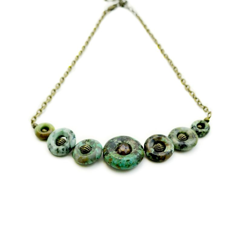 Necklace, Green Stone Circles on Rustic Brass Chain: Greenlea - product images  of