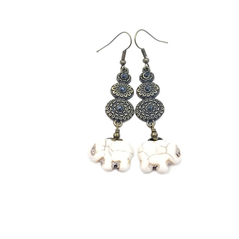 Earrings, Rustic Brass Dangles with White Stone Elephants: Verity - product images  of
