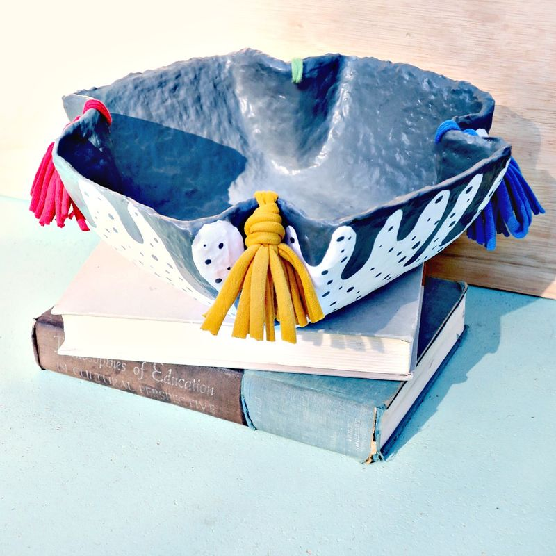 Bowl, Decorative Paper Mache Centerpiece Accent with Tassels: Festival - product images  of