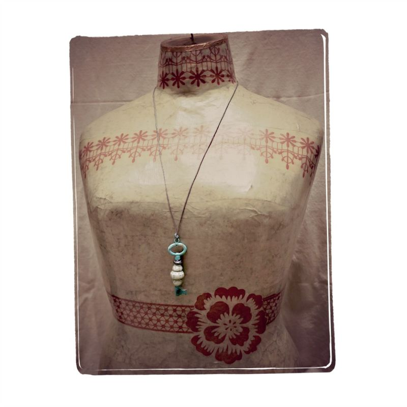 Necklace, Rustic Key Pendant on Leather Cord: Eros - product images  of