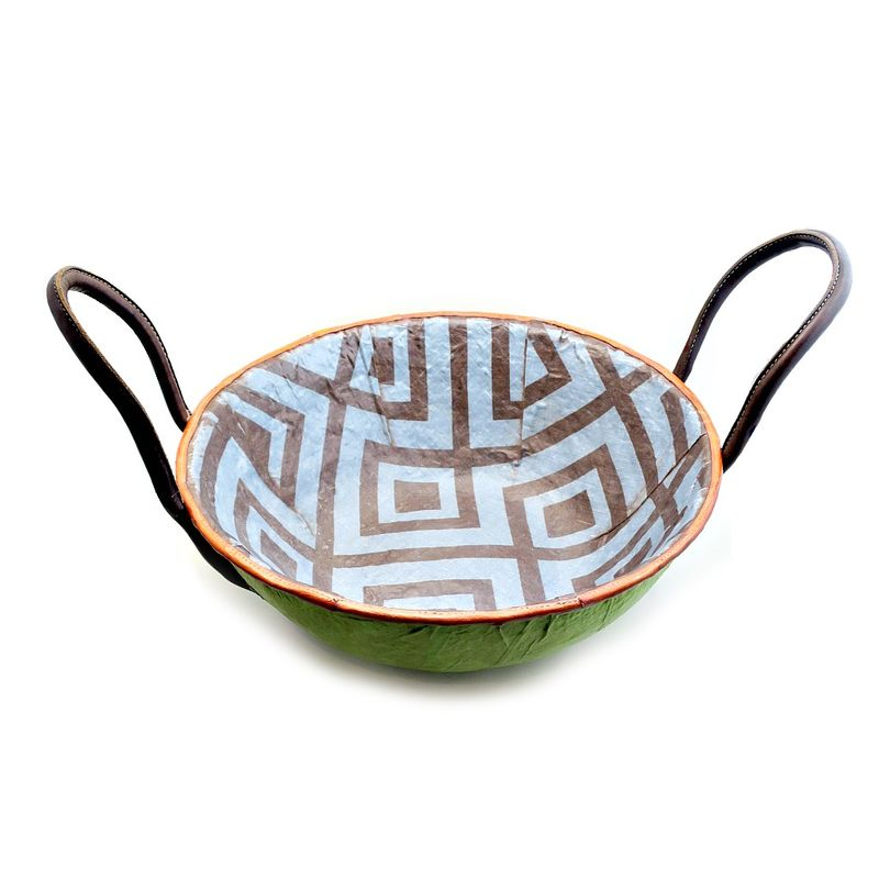 Bowl, Large Print Fabric Covered Paper Mache Centerpiece with Handles: Kedar - product images  of