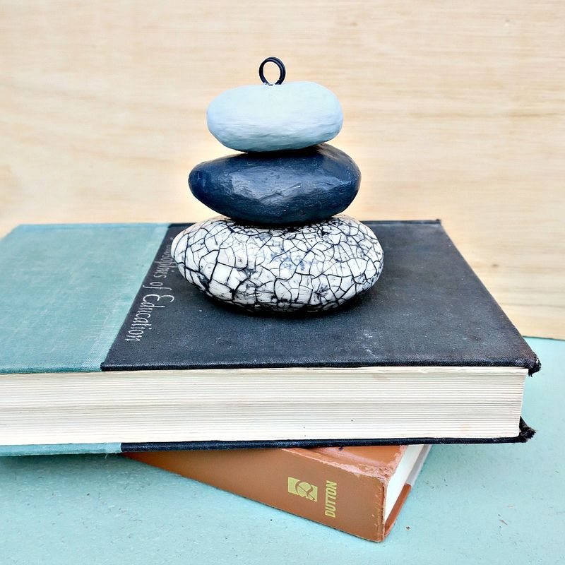 Rock Stack, Paper Mache Photo Note Holder Sculpture - product images  of