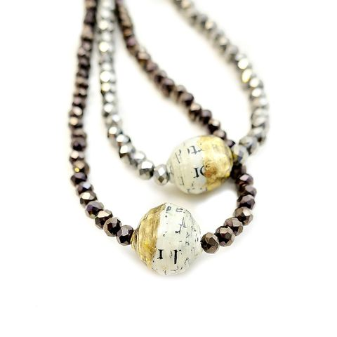 Necklace,,Foil,Leafed,Salvaged,Paper,Bead,with,Crystals:,Sliver,beaded crystal necklace with recycled paper bead, paper bead jewelry, recycled paper jewelry, foil leafed paper bead necklace, salvaged paper jewelry, handmade paper necklace