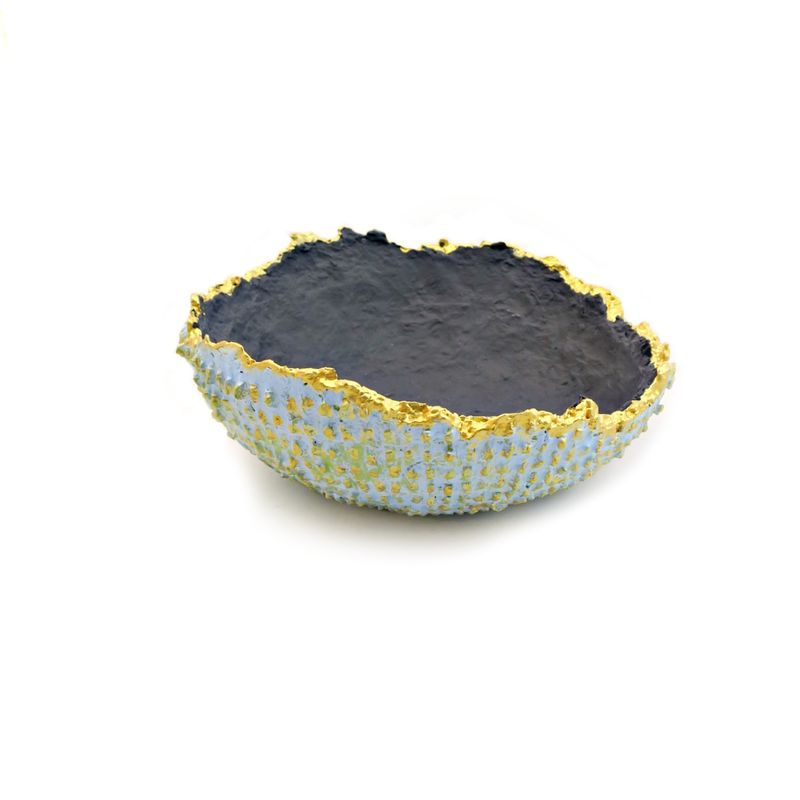 Bowl, Textured Small Blue and Gray with Raw Edge: Rind - product images  of