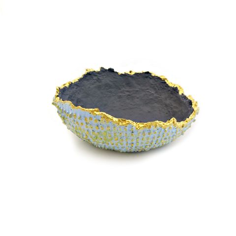 Bowl,,Textured,Small,Blue,and,Gray,with,Raw,Edge:,Rind,small textured paper mache bowl, handmade papier mache bowl, wabi sabi salvaged paper bowl, blue gray gold bowl, salvaged paper decor, recycled paper bowl