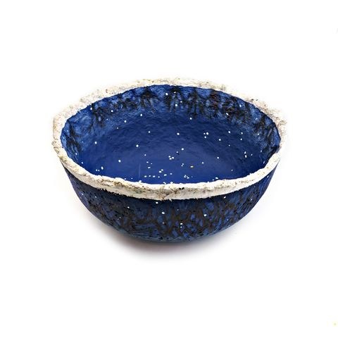 Bowl,,Dark,Blue,Paper,Mache,Vessel,with,Trees,and,Stars:,Winter,Night,big papier mache bowl, art centerpiece bowl, paper mache bowl, paper mache art, recycled home accent, recycled decor, paper bowl, night sky art,