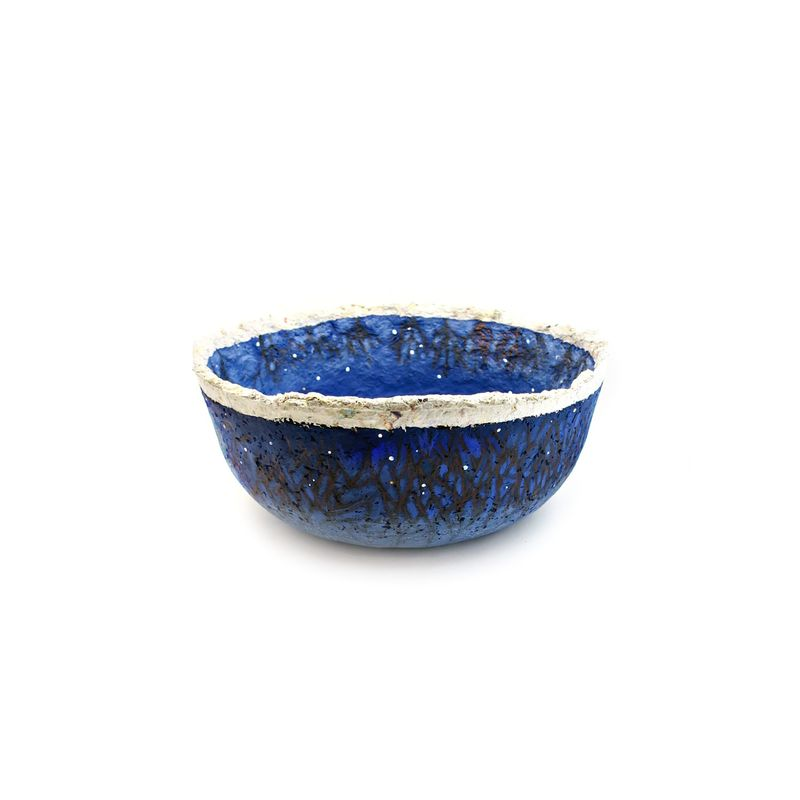 Bowl, Dark Blue Paper Mache Vessel with Trees and Stars: Winter Night - product images  of