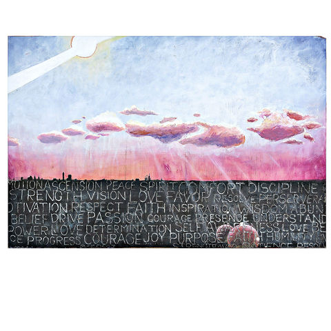 Landscape,Painting,with,Words:,On,the,Horizon,painting on wood, horizon painting, skyline at dusk painting, pink dusk cloud painting, painting with words, manifestation painting, law of attraction art, ooak acrylic painting, landscape skyline painting