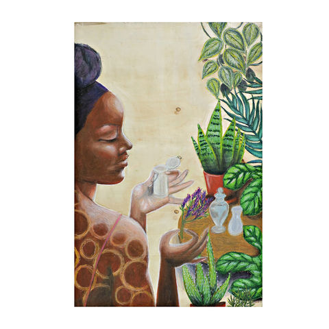 Drawing,,Large,Original,Oil,Pastel,Art,on,Wood:,the,Natural,original art, black art, naturalista, black woman, plant lover, natural hair, gardening, self care art, natural beauty, pastel art, oil pastel drawing, large art on wood