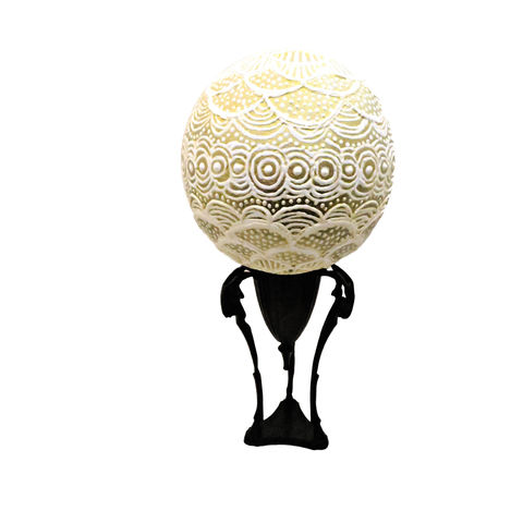 Decor,Ball,,Large,Decorative,Paper,Mache,Art,on,Stand:,Qatar,paper mache art, handmade paper mache ball paper mache ball sculpture on metal stand, paper mache ball decor, recycled art, salvaged paper ball sculpture, decorative paper mache gazing ball, gold and white decor accent