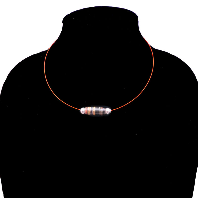 Choker, Copper Cable Necklace with Salvaged Paper Bead: Allemagne  - product images  of