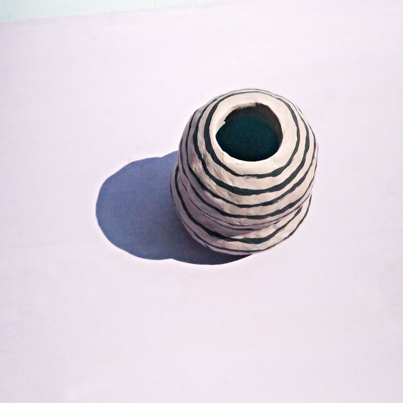 Small Vase, Striped Paper Mache Wet Bud Holder with Stopper: Gourd - product images  of