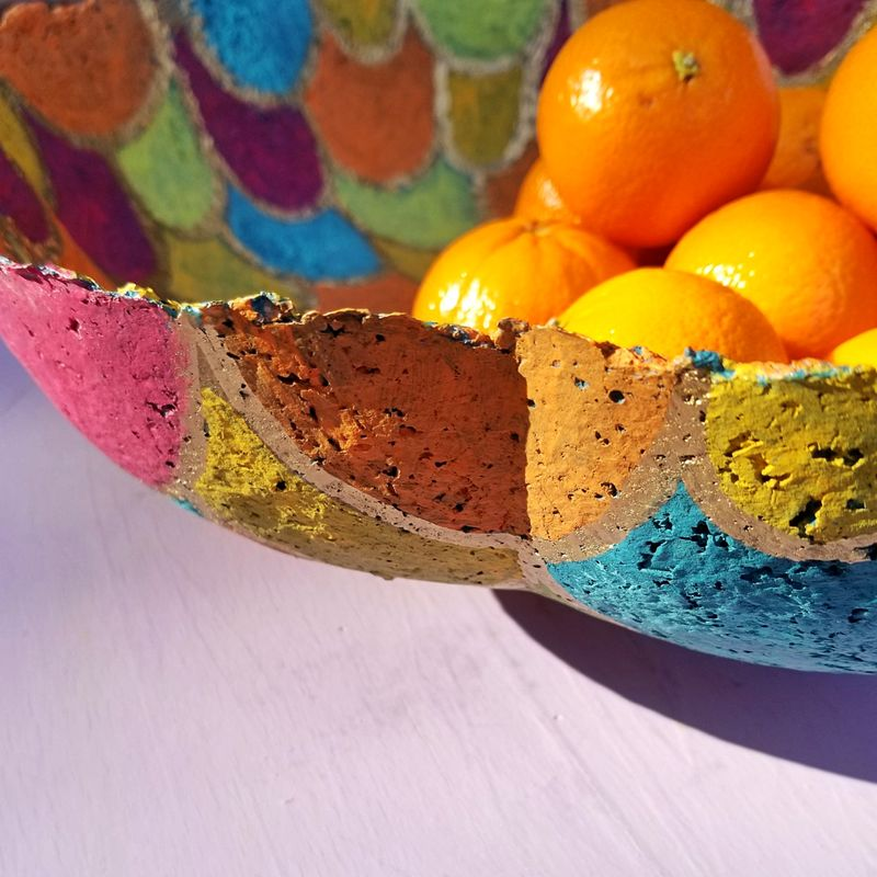 Bowl, Patchwork Colored Paper Mache Centerpiece with Gold Accents: Georgia - product images  of