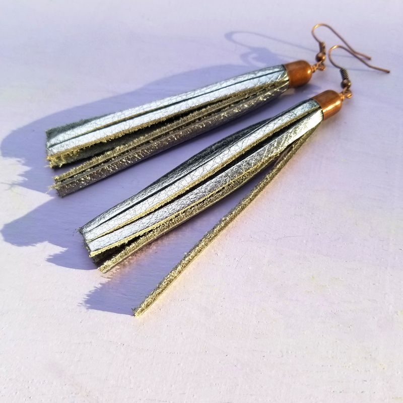 Tassel Earrings, Metallic Leather Dangles: Dane - product images  of