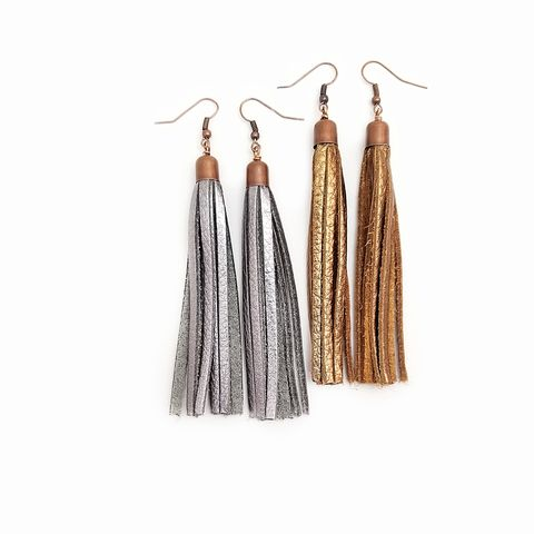 Tassel,Earrings,,Metallic,Leather,Dangles:,Dane,long leather tassel earrings, copper tassel dangle earrings, metallic leather jewelry, tassel jewelry, stark modern jewelry, long dangle earrings