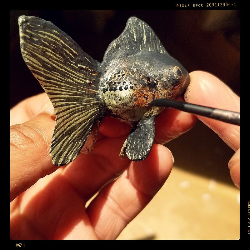 Fish Ornament, Paper Mache Goldfish Sculpture in a Bottle - product images  of