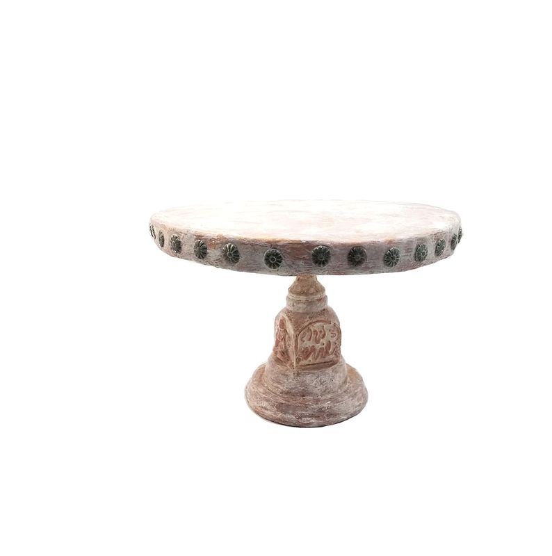 Rustic White Wash and Gold Paper Mache Pedestal Server: Three Monkeys - product images  of