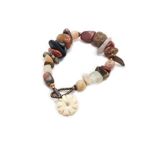 Rustic,Stone,Bracelet,with,Bone,Button,Clasp:,Ether,Stone beaded bracelet with button clasp, handmade stone and bone bracelet, button clasp bracelet, stone beaded jewelry, one of a kind bracelet