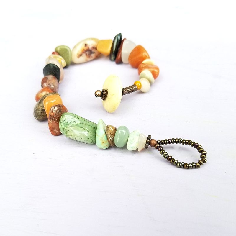 Rustic Stone Bracelet with Bone Button Clasp: Ether - product images  of