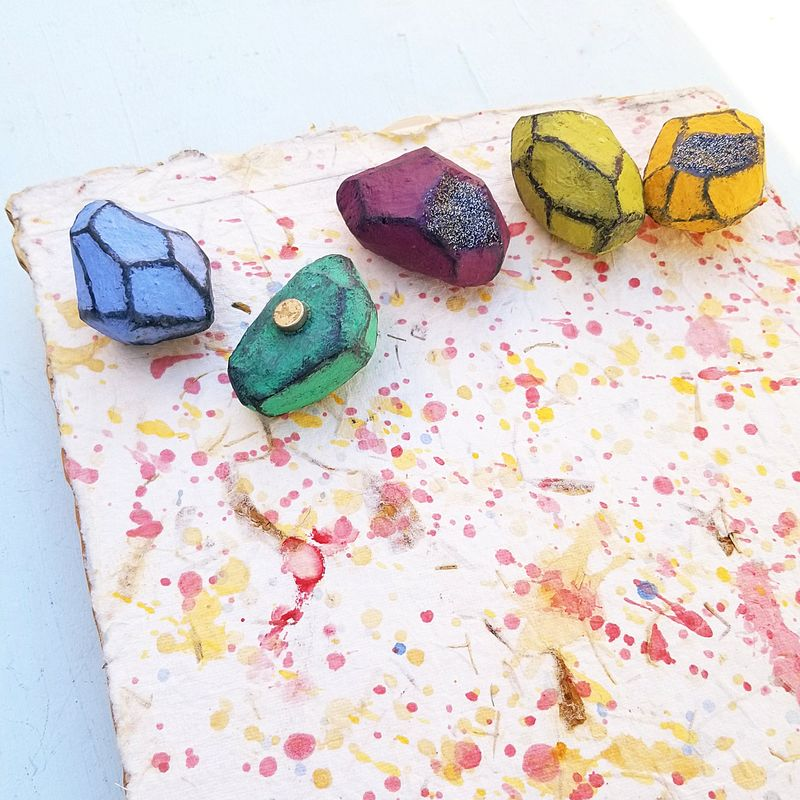 Watercolor Art Magnet Board with Paper Mache Nugget Magnets: Order in Chaos - product images  of