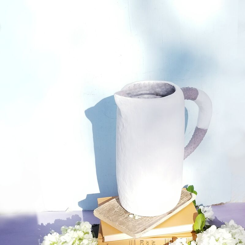 White and Gray Paper Mache Pitcher and Wet Vase: Cyril - product images  of