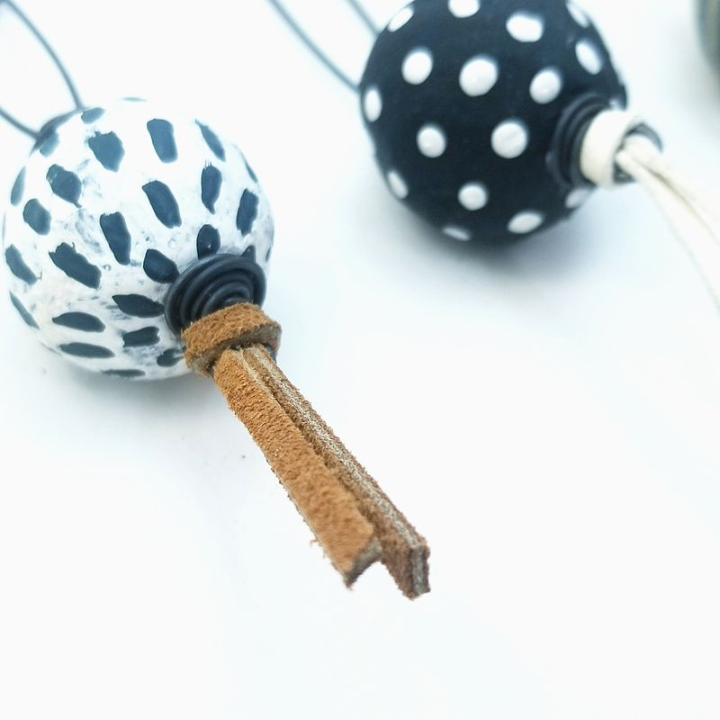 Big Pin Accessory with Paper Mache Bead for Scarves Hats Sweaters: Serafina - product images  of