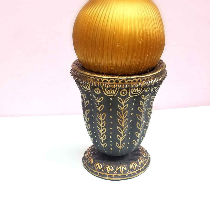 Decorative Paper Mache Vase, Gray and Gold Urn: Wheat - product images  of