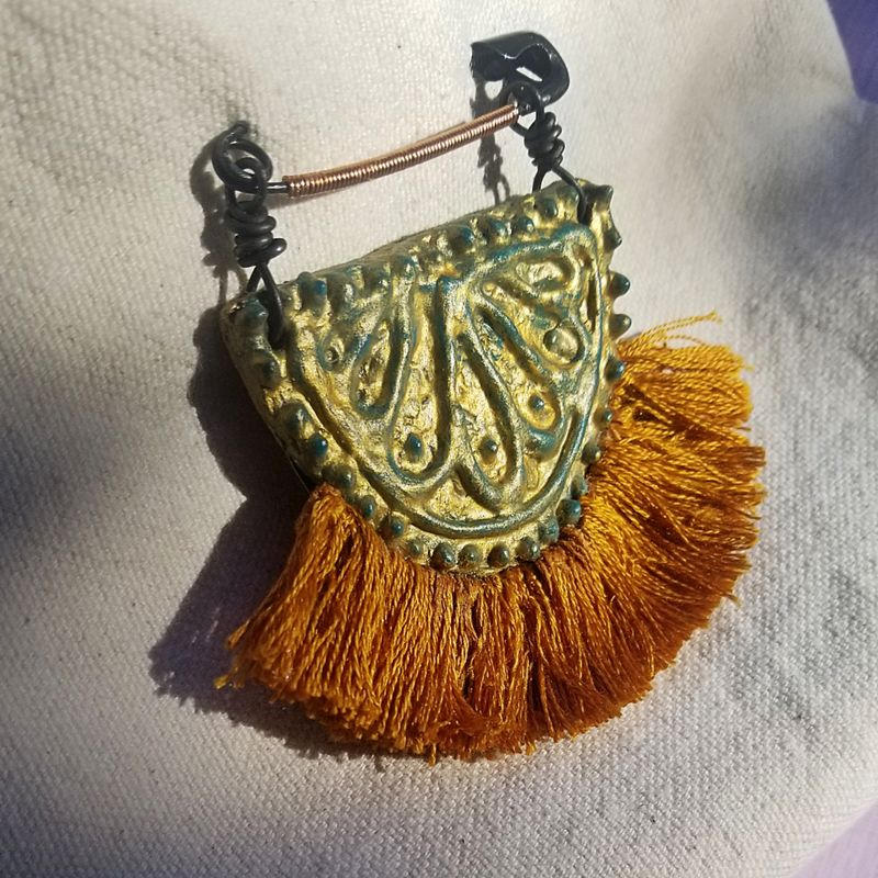 Paper Mache Pin, Green and Gold Half Moon Accessory with Fringe: Sebastian - product images  of