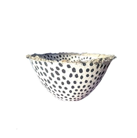 White,Paper,Mache,Bowl,with,Spec,Pattern:,Leticia,polka dot fruit bowl, paper mache home decor, paper mache bowl, recycled home goods, eco friendly tableware, recycled paper bowl, white and gray bowl