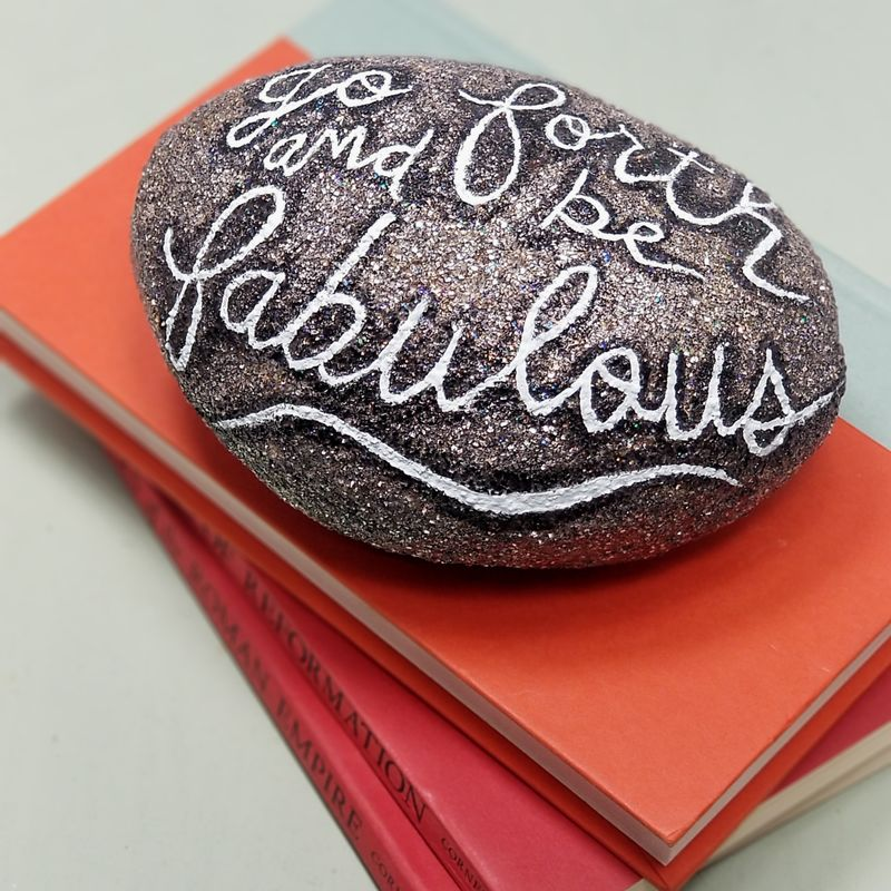 Paper Mache Rock with Words, Faux Decorative Stone: Go Forth and Be Fabulous - product images  of